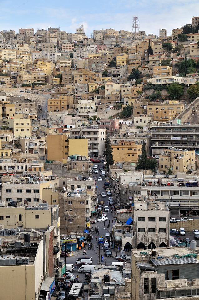 Straßenzüge in Amman; Blick von der Zitadelle