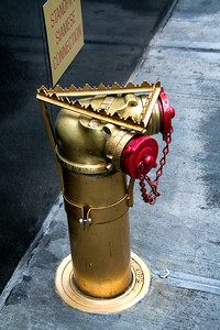 Borne fontaine dorée.