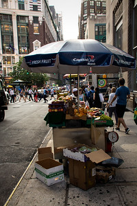 Kiosque de fruit à Manhattan.