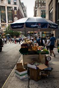Kiosque de fruit à Manhattan.