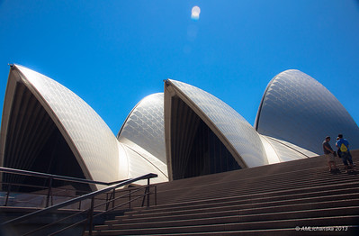 On the stairs of the Opera House