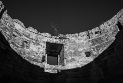 Abandoned windmill on the hill of Baux de Provence, France
