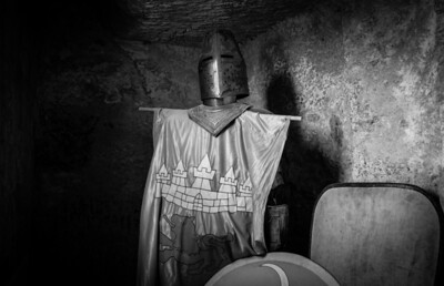 Armored ghost guardian near the fortress of Baux de Provence, France