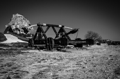 Catapult on the hill of Baux de Provence, France