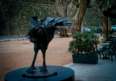 Rooster sculpture at Café de la Place, Saint-Paul, France, French Riviera