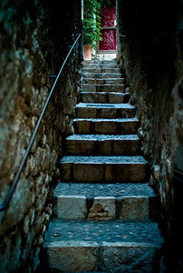 Narrow stairway in Saint-Paul, France, French Riviera.