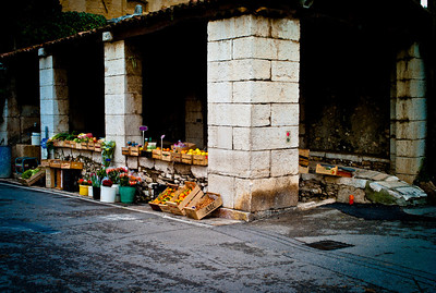 Fruit, vegetable and flower market in Saint-Paul, France, French Riviera.
