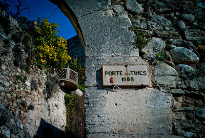 Foundation information at the entrance of Biot village in France, French Riviera.
