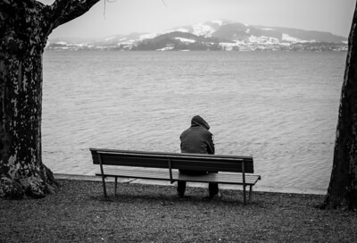 Alone on a bench in Zug, Switzerland