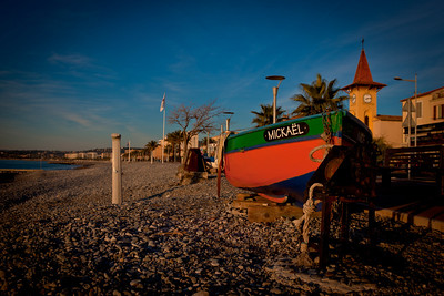 Fishing boat on the shore of Cros de Cagnes, France