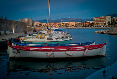 Boats at dock in port of Cagnes sur Mer, France