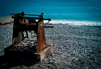 Fishing boat chain-block on the shore of Cros de Cagnes, France