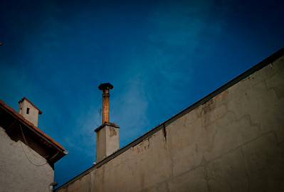 Chimney on a building roof, Place Bérenger, rue des Fusains, Cros de Cagnes, France