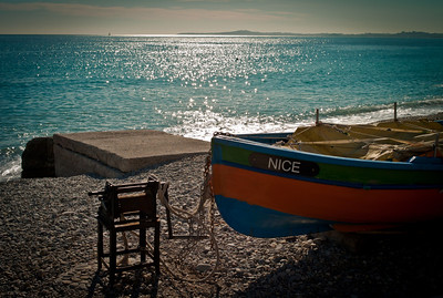 Fishing boat on the shore, Cros de Cagnes, France
