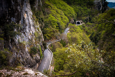 Twisted road in area of Saut-du-Loup, France