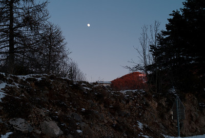 Moon rise on the road to Valberg, France