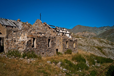 Abandoned building in Camp des Fourches on Col de la Bonnette on the Maginot line, Vallée de la Queyras, Hautes-Alpes in France