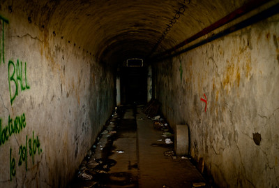 Corridor in one of the ouvrages on the Maginot line, Vallée de la Queyras, Hautes-Alpes in France