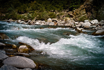 Route des Hautes Alpes : the Var river flowing down from the Alps