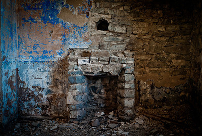 Fireplace in abandoned building in Camp des Fourches on Col de la Bonnette on the Maginot line, Vallée de la Queyras, Hautes-Alpes in France