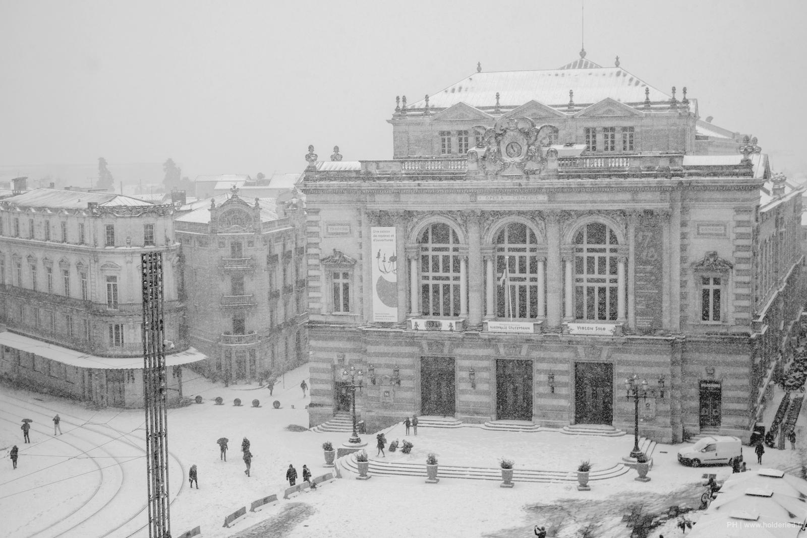 Montpellier sous la neige 2018 - Place de la Comédie 28 Février 2018