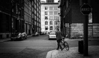 Montreal, Black and white, Man, Bicycle, Building, Cars