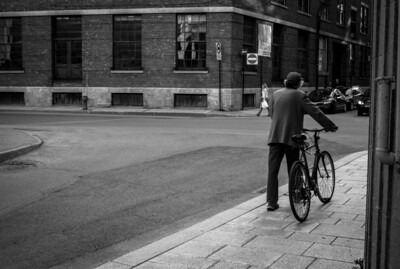 Montreal, Black and white, Man, Bicycle, Building