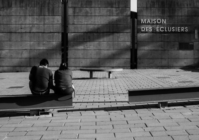 Montreal, Black and white, Boy, Girl, Couple, Canal, Maison des Éclusiers, Montreal Old Port