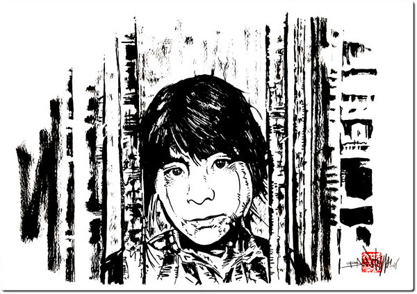 Maria - The cells Project, 2008. Encre de chine sur papier, 29.7 x 42 cm.