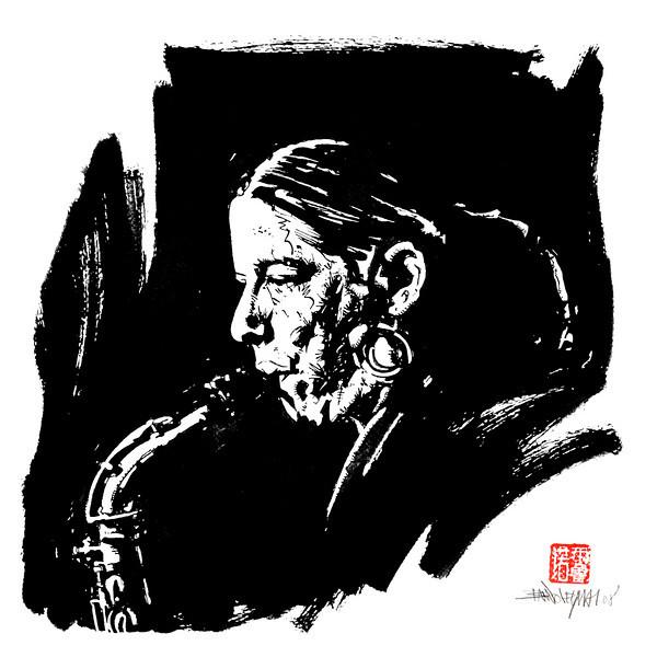 Stefanie Schimmer au Saxo. Äl Jawala, 2008. Encre de chine sur papier, 35 x 35 cm.