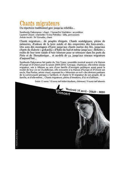 Sixième édition du festival « Le Printemps de Paris ». Du 19 mars au 25 juin 2010.  Festival des cultures d'Europe de l'Est et d'Asie centrale en Île-de-France à la  Maison d'Europe et d'Orient.