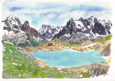 Le lac Blanc et sa vue impressionnante.   C'est le jour de mon anniversaire, le 25 juillet. Comme à mon habitude, je cours partout; je veux voir ou la vue est la meilleure; ce qu'il y a de l'autre côté; ...  C'est tellement beau par là. Dommage qu'il y ai pas mal de monde, en journée mais bon. Mmh. Tout le monde ne vient pas en montagne pour être seul!   En tout cas, je suis toujours impressionnée par ces pics, ces géants dont je ne connaitrais jamais tous les noms ... (ici l'Aiguille Verte, les Drus, les Grandes Jorasses, l'Aiguille du Tacul,, les Aiguilles de Chamonix ... (je n'en sais pas plus !) )