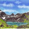 Le lac du Valon.<br /> <br /> On vient d'arriver (1500m de montée) et de planter la tente. Enfin là on cherche encore, en faisant un peu le tour du lac (un peu car il est très ... complexe de faire la totalité du tour, surtout avec une tente à la main... mmh)<br /> <br /> Le lendemain, après une nuit venteuse: on ne voit RIEN. C'est tout gris, dans les nuages. Pluvieux. Froid.  Après 4h de .... rien (vu qu'on ne s'y attendait pas, on avait rien amené à faire) je tente de monter au Rochail (600m plus haut; 3100m je crois). Quand je me rend compte dans les éboulis que je ne vois plus le 'chemin' (absence de chemin) que j'ai emprunté 10m plus tôt; et qu'un nuage, sorte de brume opaque  est entrain de m'engloutir, je fais demi tour.<br /> <br /> Le soir, lumière folle. Le lendemain, pas un nuage (!). Je monterai au sommet à ce moment là.