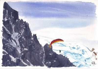 Un parapentiste au levé du jour, devant le Mont Blanc du Tacul au font ...  Par contre je ne sais pas exactement ce que c'est comme montagne, à gauche . (n'hésitez pas à me le dire!)