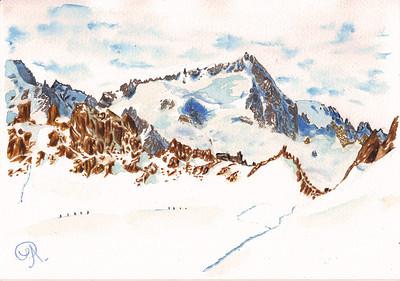 Le Chardonnet à l'arrière, depuis le plateau du Trient et le Col supérieur du Tour.  Ces montagnes sont magnifiques.. mais je viens d'échapper à l'avalanche des écrins; j'oscille entre admiration et crainte face à ces démons de glace. Tout est pourtant si beau, si calme ici.