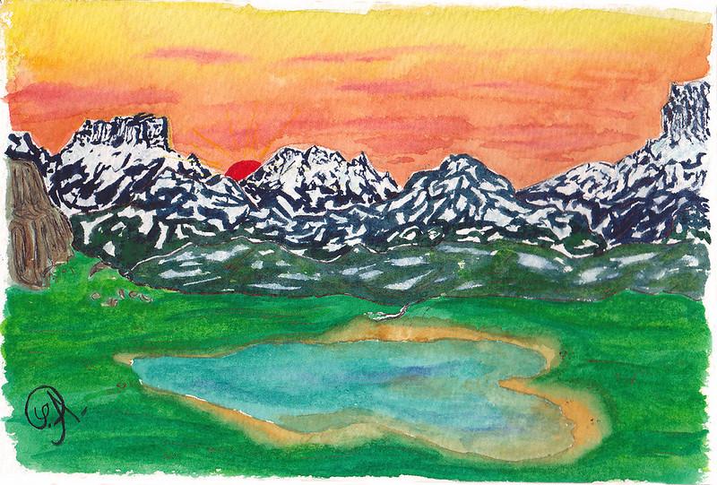 Alors là, c'est presque de la pure improvisation. <br /> <br /> Inspirée peut être d'un souvenir sympathique (avant que je ne me fasse une tendinite en redescendant, bien sûr) d'un lac dans les Cerces, qui avait à peu près cette forme . Avec le Massif du Thabor à l'arrière.