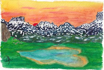 Alors là, c'est presque de la pure improvisation.   Inspirée peut être d'un souvenir sympathique (avant que je ne me fasse une tendinite en redescendant, bien sûr) d'un lac dans les Cerces, qui avait à peu près cette forme . Avec le Massif du Thabor à l'arrière.