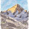 Levé de soleil sur le Chardonnet, un pu au dessus du Refuge Albert 1er. <br /> <br /> Il me semble que c'est la 1ère fois que je dors à ce refuge. C'est très beau, le seul ou j'ai eu l'impression que refuge et glacier étaient vraiment )à proximité l'un de l'autre. Vraiment.