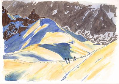 *Shadow game* version dessin...  hé oui, j'ai aussi une version photo. Du haut (ou presque) de l'aiguille du midi. L'arête qui descend vers la vallée Blanche (et accessoirement, le refuge des Cosmiques)....  :) Avec ici les 1ers alpinistes qui remontent déjà (!) . Il est 6h du matin environ... on vient d'arriver avec la 1ère benne.