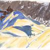 *Shadow game* version dessin...<br /> <br /> hé oui, j'ai aussi une version photo. Du haut (ou presque) de l'aiguille du midi. L'arête qui descend vers la vallée Blanche (et accessoirement, le refuge des Cosmiques)....  :)<br /> Avec ici les 1ers alpinistes qui remontent déjà (!) . Il est 6h du matin environ... on vient d'arriver avec la 1ère benne.