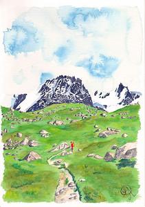 La montée tranquille, longue et verte vers le Grand Paradis (4013m).. et tout d'abord le refuge Chabod (qu'on ne voit pas) Le grand Paradis , à gauche, est dans les nuages, d'ailleurs.