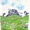 La montée tranquille, longue et verte vers le Grand Paradis (4013m).. et tout d'abord le refuge Chabod (qu'on ne voit pas)<br /> Le grand Paradis , à gauche, est dans les nuages, d'ailleurs.