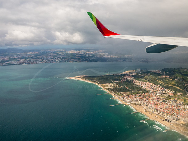 Approach to the airport of Lisbon, Portugal
