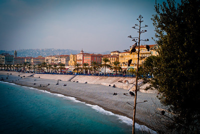 Beach ans shore in Nice, French Riviera, France
