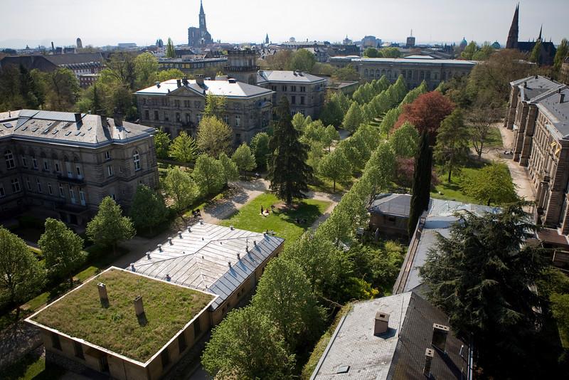 Jardin du Palais Universitaire de Strasbourg, lieu d'exposition des barriéres, mises en place par Jose Arnaud.