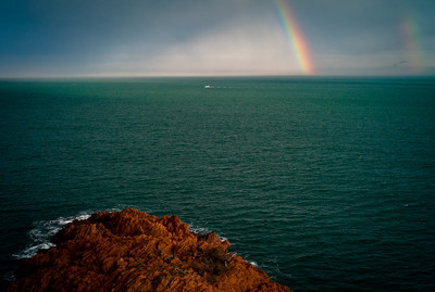 Rainbow over the sea near Massif de l'Esterel, French Riviera, France