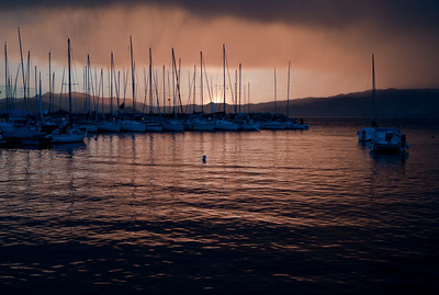 Port in Cannes after the storm at sunset, French Riviera, France