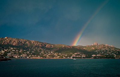Rainbow over mountains near Massif de l'Esterel, French Riviera, France