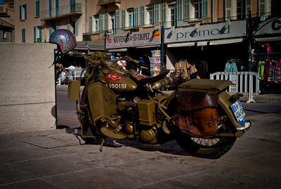 Old motorcycle in St-Tropez, French Riviera, France