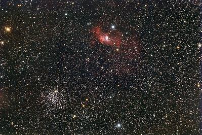 M52 en Bubble Nebula (NGC-7635)